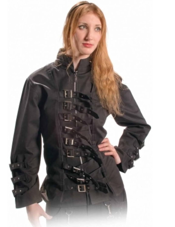 Bäres Cyberpunk - Damen Schwarzes Gothic Hemd mit Schnallen