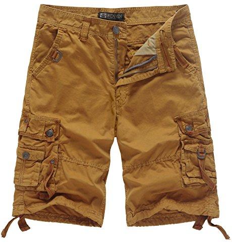 WenVen Men's Casual Cargo Short Pants Military Outdoor Wear Lightweight(WV3233 Yellowish Brown,33) by WenVen
