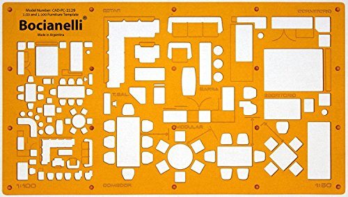 1:50 and 1:100 Scale Architectural Drawing Template Stencil - Architect Technical Drafting Supplies - Furniture Symbols for House Interior Floor Plan Design