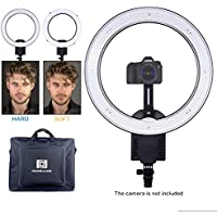 NanGuang CN-R640 19 Ring Light Ultra Bright LED Dimmable Ring Light Camera Mount Diffuser Cloth Dual-Purpose Carrying Bag Video Shooting Makeup YouTube Video Studio Shoot Selfie