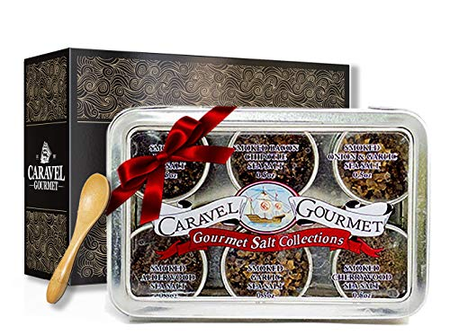 The Smoked Sea Salt Sampler - Perfect as a Gift Set - Reusable Tins & Bamboo Spoon - Alderwood, Cherrywood, Bacon, Bacon Chipotle, Garlic Onion, Garlic Salts - 1/2 oz. each, 3 total oz.