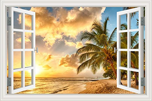 GreatHomeArt Removable Wall Decals Beach Palm Tree 3D Wall Decor Stickers for Living Room Modern Window View Ocean Theme Wallpaper Peel & Stick- 24