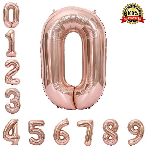 Hotshots2019 40 Inch Large Rose Gold Balloon Number 0 Balloon Helium Foil Mylar Balloons Party Festival Decorations Birthday Anniversary Party Supplies -