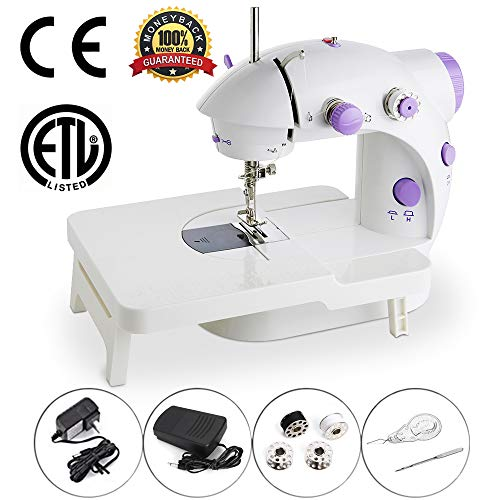 (Mini Portable Sewing Machine Double Speed Control Double Thread Needle Electric Household Automatic Sewing Machine with Foot Pedal and Extension Table)