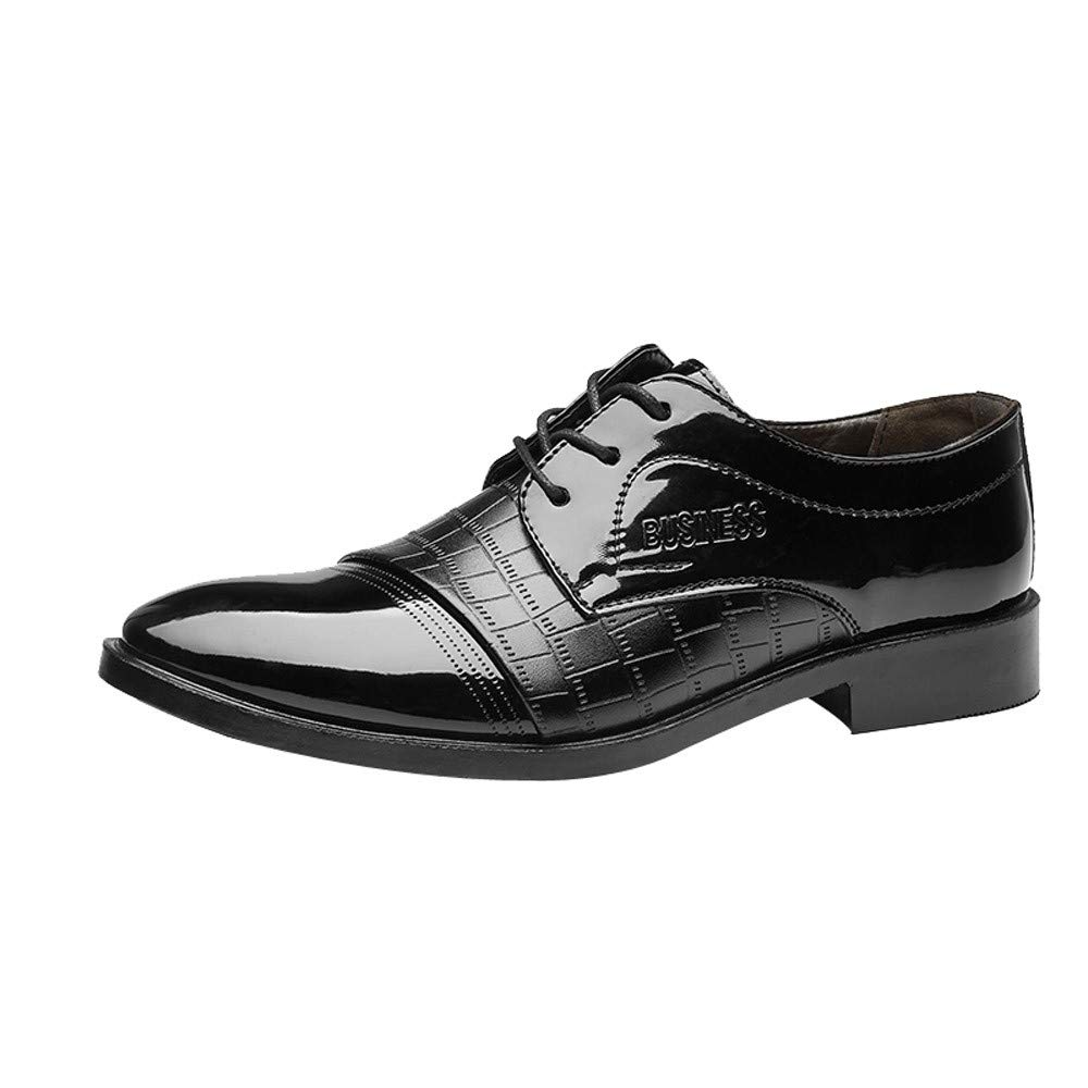God's Pens Men Modern Classic Lace Up Business Leather Shoes Breathable Non-Slip Crocodile Leather Shoes by God's pens shoes