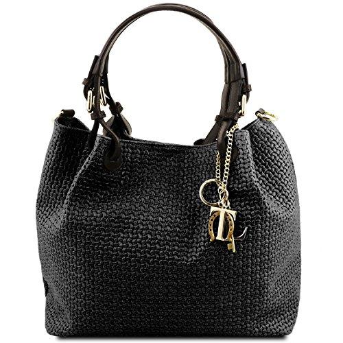 tressé Noir KeyLuck en Leather Sac imprimé TL Noir Tuscany Shopping Cuir wz8OqRxR
