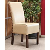 International Caravan SG-3343-1CH-IC Furniture Piece Beige Faux Leather Philip Dining Chair