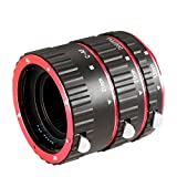 Neewer® Auto Focus Macro Extension Tube Set for Canon EOS DSLR SLR Lens, Extreme Close-Ups (Red), fits Canon EOS 1d, 1ds, Mark II, III, IV, 5D,Mark II, 7D, 10D, 20D, 30D, 40D, 50D, Digital Rebel xt, xti, xs, xsi, t1i, t2i, t4i, t5i 300D, 350D, 401D,0D, 500D, 550D, 650D, 700D, 1000D (Metal Bayonet 13-21-31mm)