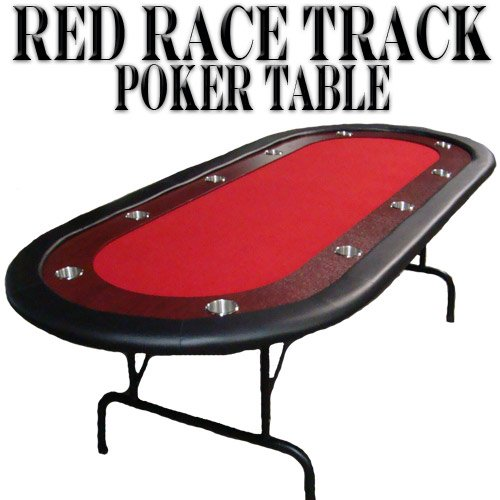 10-Player Casino Poker Game Table with Red Felt, Stainless Steel Cup Holders, & Dark Wooden Race Track by Brybelly
