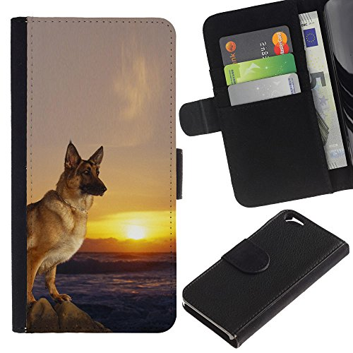 EuroCase - Apple Iphone 6 4.7 - German shepherd dog sunset hound - Cuir PU Coverture Shell Armure Coque Coq Cas Etui Housse Case Cover