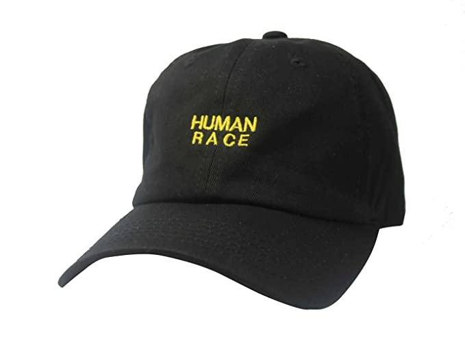 Custom Human Race Black Twill Cotton Dad Cap Low Profile Adjustable ... 59a81ae27b3