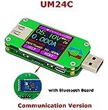 UM24C USB 2.0 Power Meter Tester USB Multimeter Color LCD Display Voltage Current Meter Voltmeter Amperimetro Battery Charge Measure Cable Resistance with Bluetooth … (UM24C)