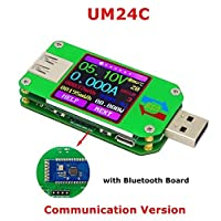 FancyWhoop UM24C USB 2.0 Leistungsmesser Tester USB Multimeter Farbe LCD Display Spannung Strom Meter Voltmeter Amperimetro Batterielademeßkabel Widerstand mit Bluetooth
