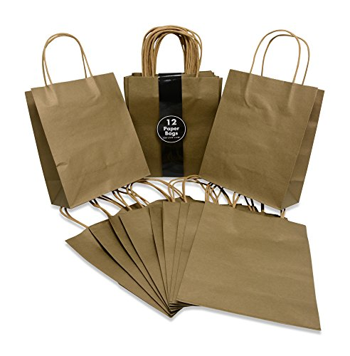 Medium Size Paper Gift Bags with Handles (7.75x4.25x9.75 Inches), Metallic Gold, 2 Dozen