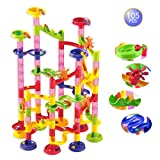 Marble Run Coaster 105 Piece Set with Building Blocks+ Plastic Race Marbles Learning Railway Construction DIY Toy for Toddlers, Preschoolers & Kids