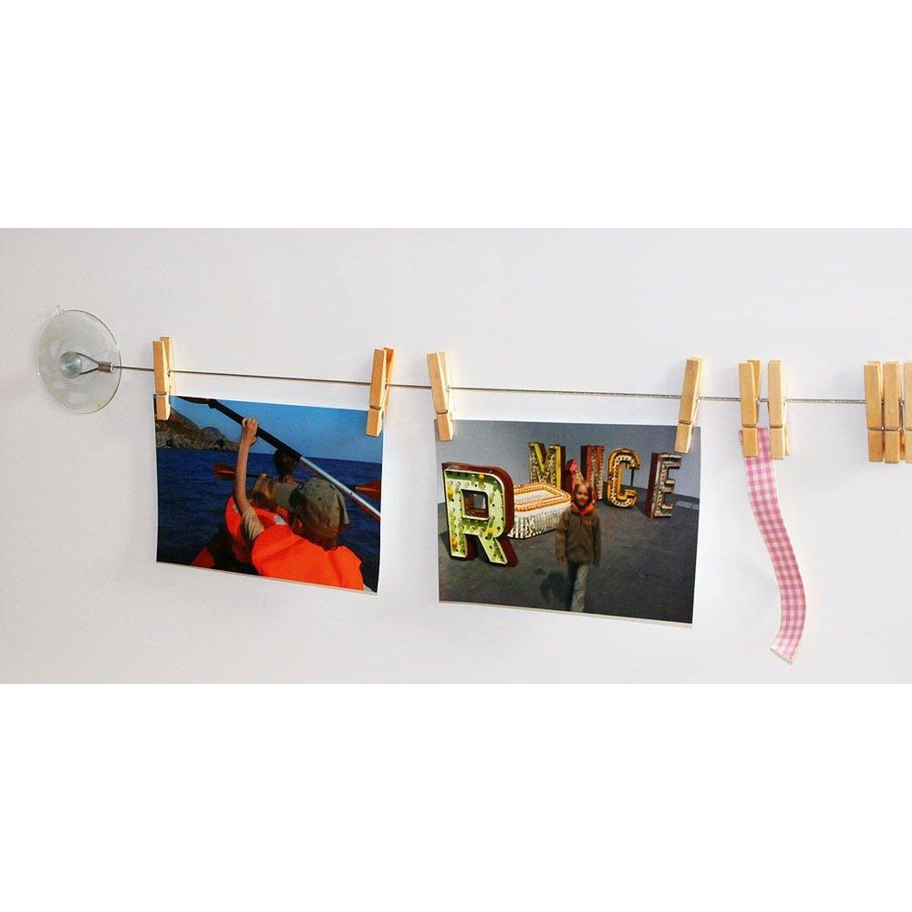 HAB /& GUT MC402 Portafoto da Parete 120 cm con 10 mollette Colorate di Legno