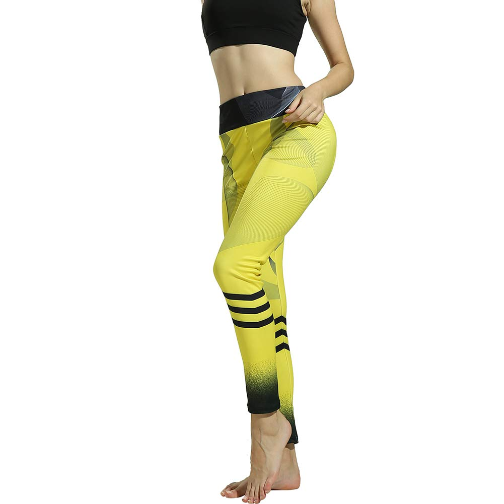 Alexsix Women Yoga Pants Yellow Stripe Running Sweatpants Pilates Dancing Fitness Leggings