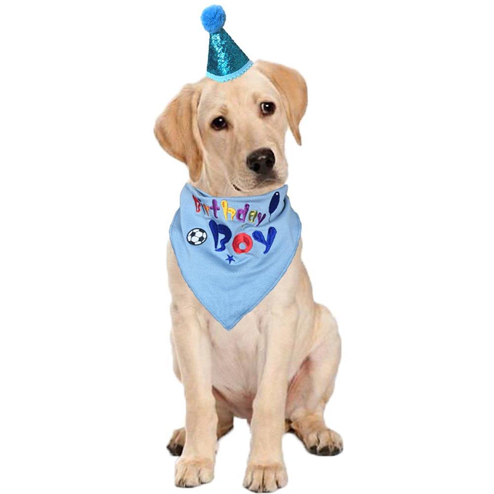 Amazon KZHAREEN Dog Birthday Bandana Triangle Bibs Scarf Accessories Party Hat Boy Pet Supplies
