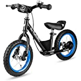 """12"""" Balance Bike with Brake & Bell System for Kids Toddles, No Pedal Training Walking Bicycle Include Stand & Inflator, Adjustable Handlebar & Seat for Ages 2 to 6 Years Old (Black)"""