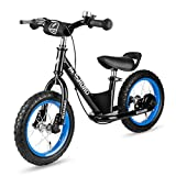 12″ Balance Bike with Brake & Bell system for kids Toddles, No Pedal Training Walking Bicycle include Stand & Inflator, Adjustable Handlebar & Seat for Ages 2 to 6 Years Old