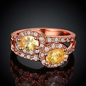 oyang Zircon Oro Rosa Dos cristales tamaño de anillo: 8