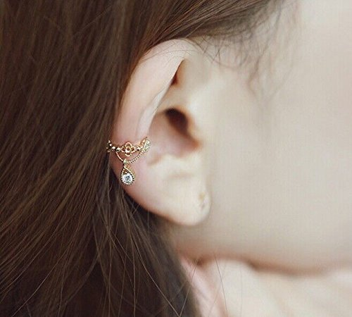 Pixel Jewelry 1985 - Fashion Jewelry Ear Cuff Wrap Rhinestone Cartilage Clip On Earring non-pierced (Gold) ()