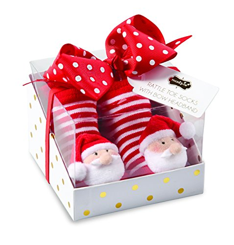Mud Pie Christmas Baby Girl Rattle Toe Sock & Headband Set (Santa)