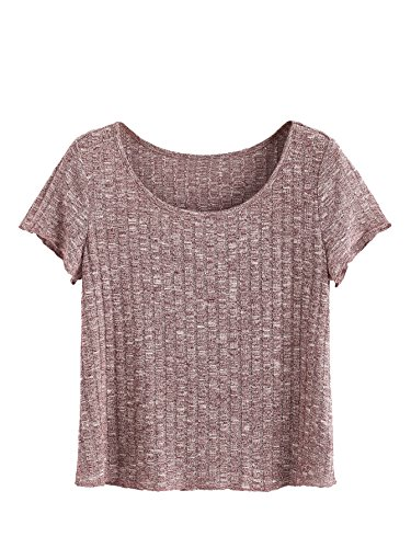 SheIn Women's Casual Basic Crew Neck Short Sleeve Ribbed Knit Tee Large ()
