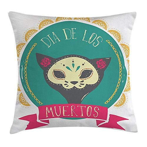 Mexican Decorations Throw Pillow Cushion Cover, Dead Themed Sugar Cat Skull Mask in Gold Circle Frame with Spanish Words,Decorative Square Throw Pillow Cushion Cover 18x18 Inch, Teal Pink ()
