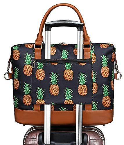 Womens Weekender Overnight Bag Carry-on Duffel Shoulder Ladies Travel Tote Bags in Trolley Handle (Pineapple - black)
