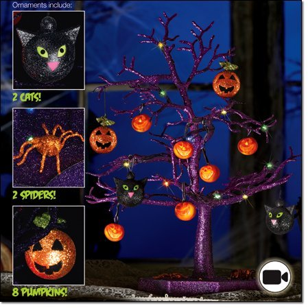 Halloween LED Sparkle Tree with Cats, Pumpkins And
