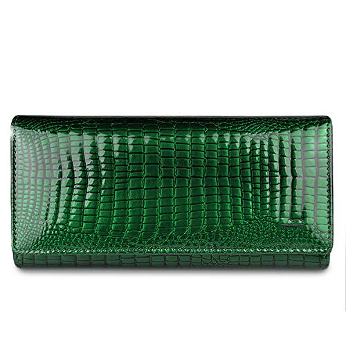 Alligator Womens Wallets Genuine Leather Ladies Clutch Coin Purses Hasp Luxury Patent Crocodile Female Long Wallet,Jade Green