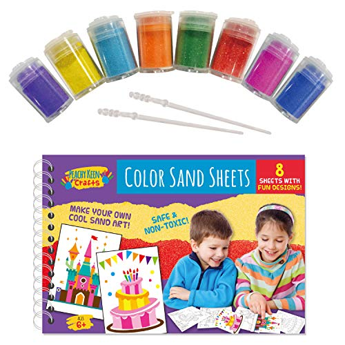 8 Sheets Color Sand Art Painting Kit | Peel, Sprinkle & Stick Coloring Designs | Perfect Sand Craft Set for Kids