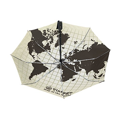 World Map UPF 50+ Anti-UV Parasol Waterproof Windproof Reverse 3 Folds Auto Open Close Lightweight Umbrella