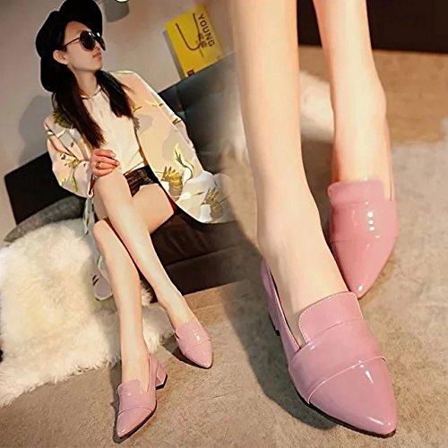 Color Xue Zapatos versátil Zapatos áspero Zapatos Rosa Alto y Raw Punta Tacón Mujer única Cuero de con de con Lounge de Qiqi CCwSrP