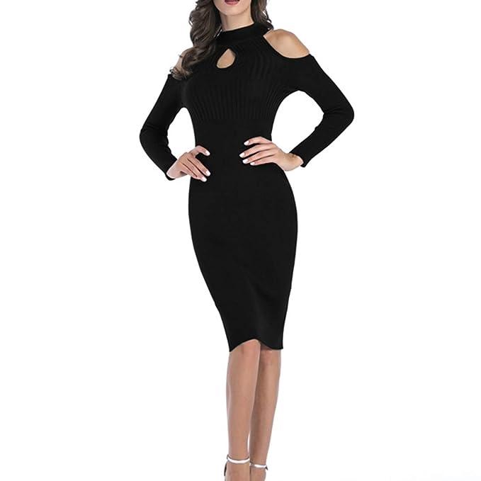 183ce83a03e Belgius Women Cutout Bodycon Sweater Dress Crewneck Long Sleeve Midi Pencil  Dress Black M