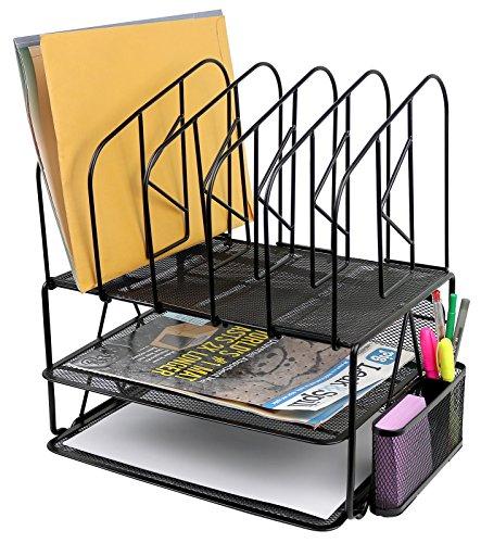 Greenco Mesh 2 Tier Desk File Organizer Shelves With 5