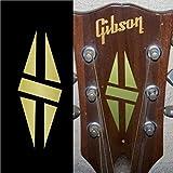 Inlay Sticker Decal Guitar Headstock In Gold - 2pcs SET LP Diamond Hatch GD
