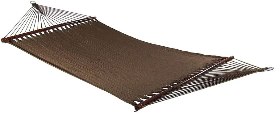 Sunnydaze Polyester Rope Hammock, Large Double Wide Two Person with Spreader Bars – for Outdoor Patio, Yard, and Porch – Mocha