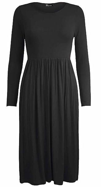 Girlzwalk Women Frankie Plain Long Sleeve Skater Dress Plus Size at ...