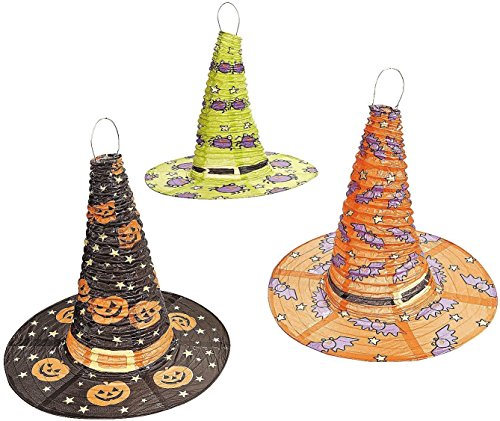 [Halloween Witch Hat Lanterns 3 Pcs Per Set] (Barney Infant Costumes)
