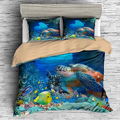 APJJQ 3D Digital Print Turtle Bedding Set Full/Queen Sea Blue Duvet Cover Set Ocean Corals Fishes for Teens Boys Girls 100% Microfiber Sealife 3 PC(1 Duvet Cover 2 Pillow Shams)Quilt - Ninja Turtle Sheets Queen