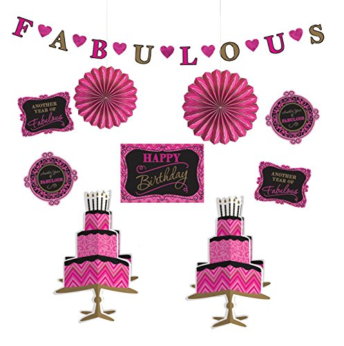 Pink and Fabulous Birthday Assorted Room Decorating Kit, 10-Piece