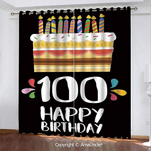 AmaUncle Customized Curtain Panel Shade,Old Legacy 100 Birthday Party Cake Candles on Black Backdrop,W84.3xL84.3 Inches,2 Panels Set for Bedroom and Living ()