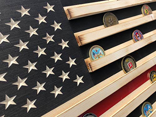 Extra Large Black and White Rustic American Flag Coin Display (THIN RED LINE)