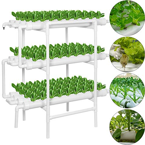 Grow Box System (MorNon 3 Layers 108 Site Hydroponic Site Grow Kit 12 Pipe Hydroponic Growing System for Leafy Vegetables Lettuce Herb Celery Cabbage(Nest Basket Water Pump and Sponge Included))