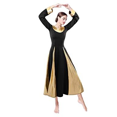 a1ff0efa98dc6 Womens Liturgical Dancewear Praise Robe Long Sleeves African Dress Metallic  Loose Fit Full Length Tunic Circle
