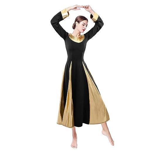 Amazon Owlfay Women Metallic Praise Dance Dress Long Sleeve