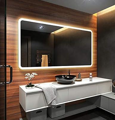 Espejo de Baño Moderno con la Iluminación LED 70x90cm: Amazon.es ...
