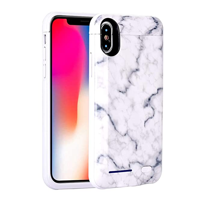 size 40 582d7 d329e iPhone Xs Case (2018) / iPhone X Case (2017) Battery Case, Marble Series -  5000mAh Ultra Slim Extended Battery Backup Charging Case Charger Pack Power  ...